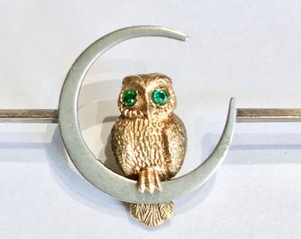 Edwardian Owl and Moon Brooch c.1910 FREE WORLDWIDE SHIPPING