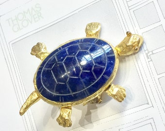 Vintage Gold articulated Turtle Brooch - FREE WORLDWIDE SHIPPING