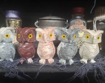 10\u201d Owl Totem and Obsidian Anklet  unisex  owls  gift ideas  totem  owl spirit animal