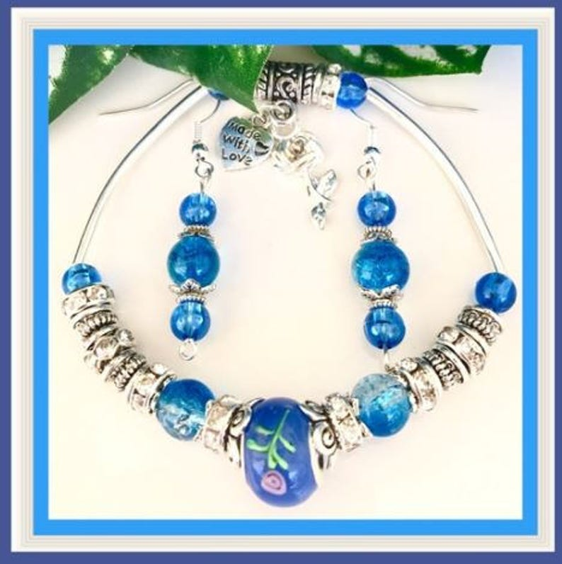 Murano Glass Silver charm dangle Earrings Gifts for her Silver European Blue Lamp work Beaded Necklace /& Earrings Jewelry set unique
