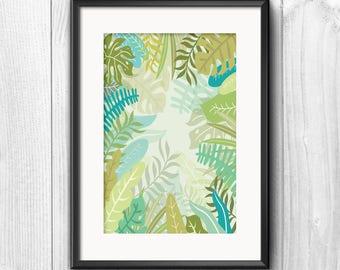 Tropical Leaves A4 Print