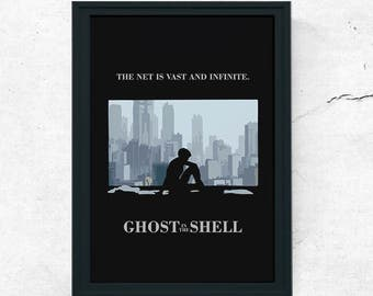 Ghost in the Shell Anime Minimal Movie Poster 2 Variations Japanese Scarlett Johansson (A1, A2, A3, A4)