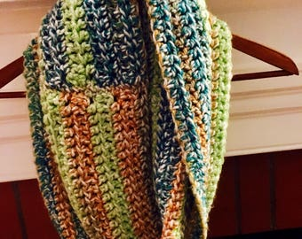 Mustard, green, blue infinity scarf