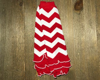 Baby leg Warmer // Red and white Chevron with ruffle // Ruffled Baby Leg Warmer // Toddler Leg Warmer // Baby Accessories // Arm Warmer