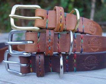Handmade & Hand Stitched Leather Dog Collar - Stitched Leather Strap Keeper - Colourful - Dog Gift - Made in the UK - Alchemy Leatherworks