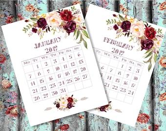 Surprising 2019 Calendar Printable Floral Wall Art Flowers Calendar Etsy Download Free Architecture Designs Scobabritishbridgeorg