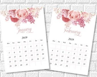 2019 Printable Calendar 2019 Wall Calendar Monthly Desk Etsy