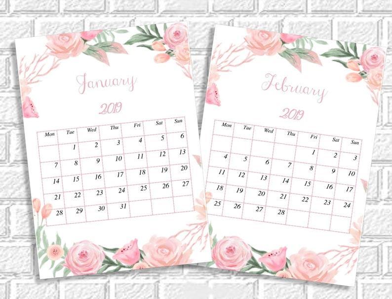 Floral Calendar 2019 Printable Monthly Desk Calendar Printable Pdf Calendar 2019 Mini Desk Calendar Desktop Calendar Small Desktop Calendar