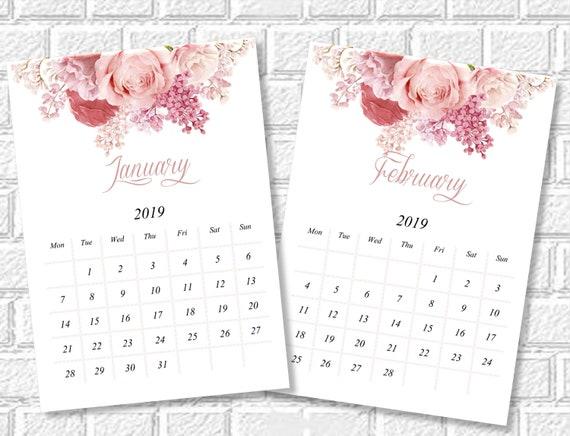 Floral Calendar 2019 Printable Monthly Desk Calendar Etsy