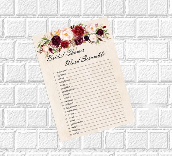 bridal word scramble unscramble funniest bridal shower games