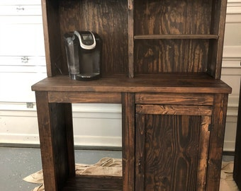 Coffee Bar With Opening For A Mini Fridge Rustic Open Etsy