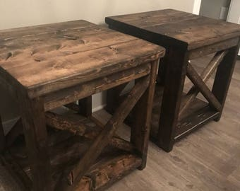 Set Of Rustic/ Farm Style End Tables/night Stands Custom Built With Xs