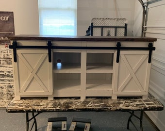 Beau Modern Or Rustic Farmhouse Style Media Console 4 Bay / Buffet/ Kitchen  Island / Sideboard Table With Barn Door Slider