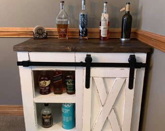 Farmhouse Style Coffee Bar With Barn Door Slider / Sideboard With Sliding X  Style Barn Door / Modern Farmhouse Buffet