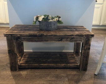 Rustic Smaller Size Custom Built Coffee Table/ Apartment Size Coffee Table/  Dorm Room Size Coffee Table