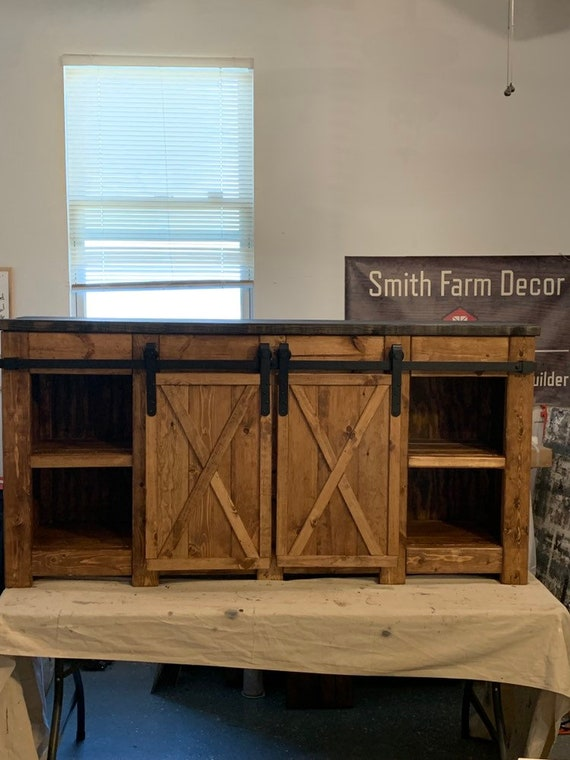 Modern farmhouse style media console / Buffet table / media console barn  door slider / sideboard for dining room