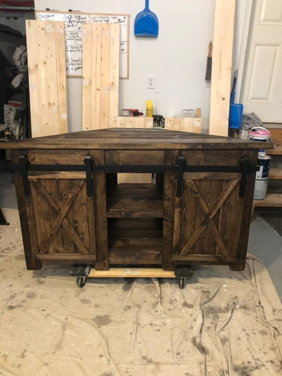 buy online 24401 673a3 Corner TV STAND / Farmhouse style corner unit with barn door slider /  Rustic corner media center/ TV Console / Entertainment Stand