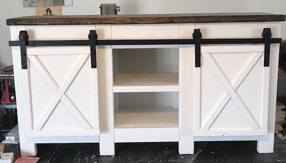 Fabulous Modern Farmhouse Style Media Console With Barn Door Sliderfive Foot Could Be A Buffet Table Or A Sideboard In A Dinning Room Creativecarmelina Interior Chair Design Creativecarmelinacom