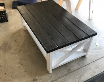 X Style Modern Farmhouse Style Coffee Table  Custom Build Coffee Table Rustic  Style