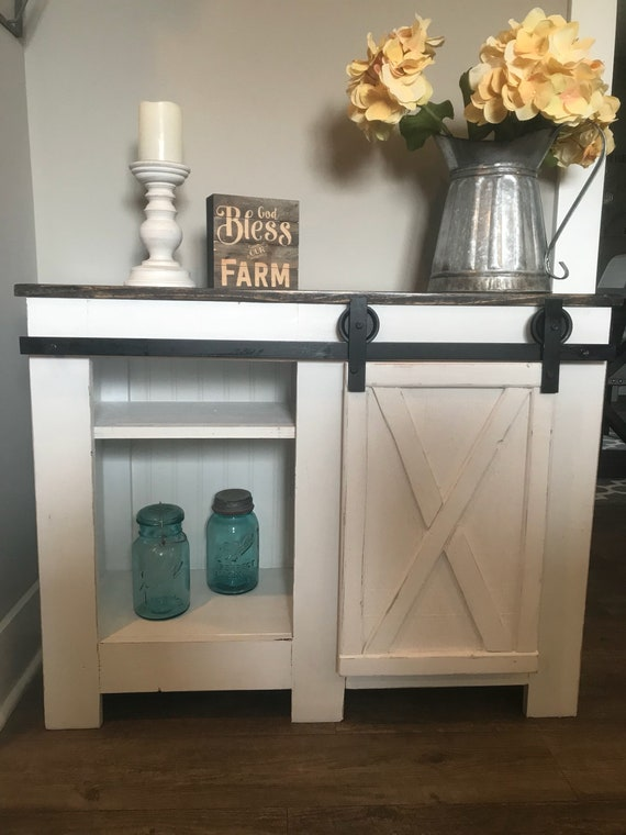 Three Foot Tv Stand Media Console 2 Bay Storage Cabinet Etsy