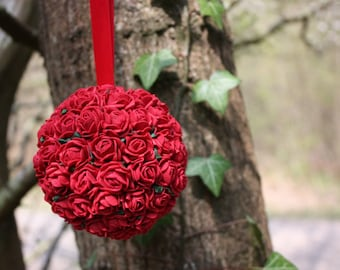 Hanging ball, Red flower decoration, Flower decoration, Wedding Pomander, Hanging decoration, Red flower ball, 9cm