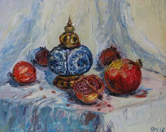 Pomegranate / fruit / still life / east / oriental still life / aladdin lamp / lamp / sandals/ oil painting / palette / for interior
