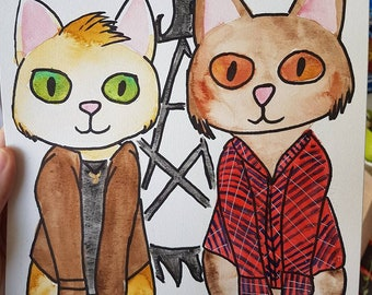 Original watercolor Dean and Sam Winchester as cats