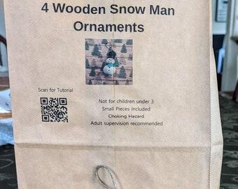 Snowman Ornament Kit. Make Four (4) Snowman Ornaments.