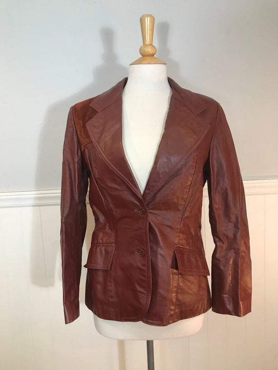 Vintage 70s Brown Leather and Suede Jacket Casual