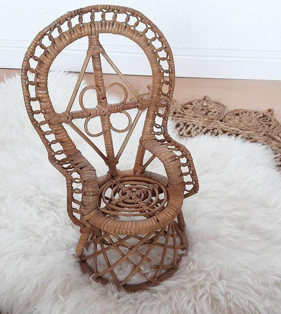 Mini Rattan Peacock Chair For Dolls | Etsy
