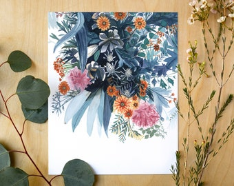 Winter Gathering Botanical Giclee Print | Watercolor Botanical Artwork