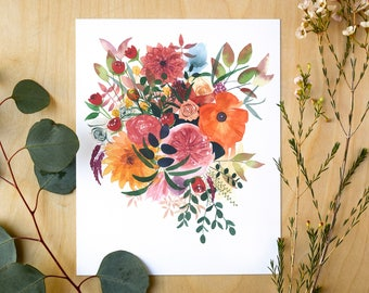Autumn Gathering Botanical Giclee Print | Watercolor Botanical Artwork