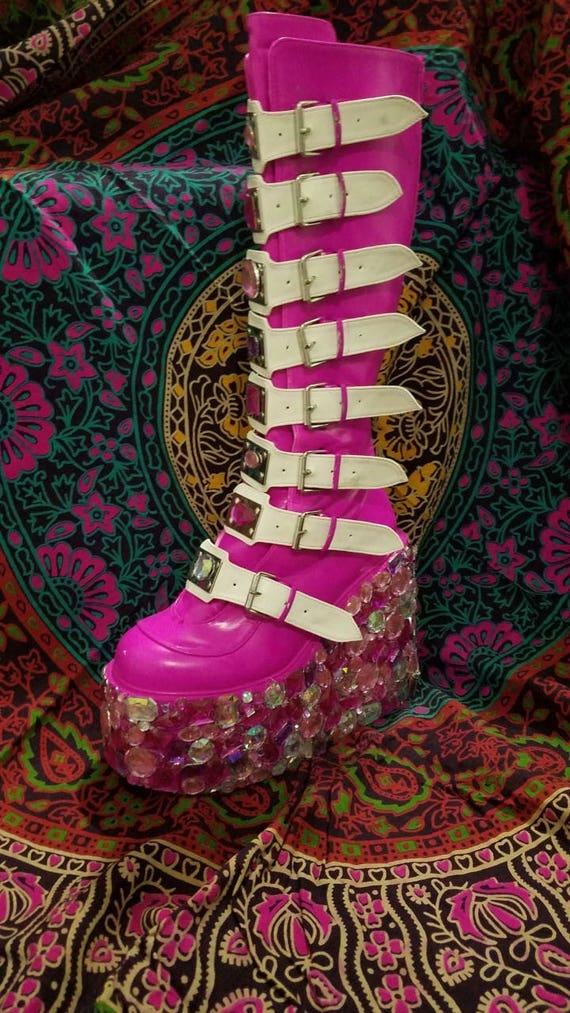 Pink Custom made rave boots/ Demonia
