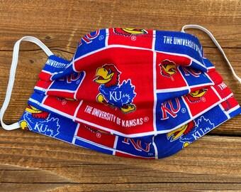 University of Kansas  inspired Handmade fabric Face Mask (white elastic may vary slightly) Kansas City KU