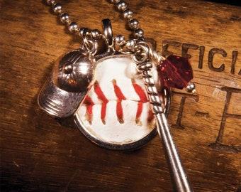 Baseball Fever necklace made with a real baseball - Baseball mom -