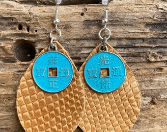 Turquoise Asian inspired leather earrings