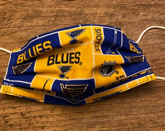 Kids - St Louis blues hockey inspired Handmade fabric Face Mask back material is white  (elastic may vary)