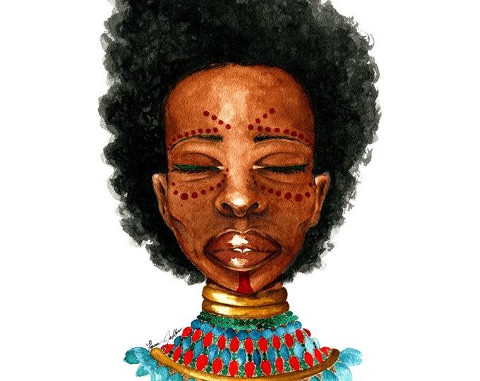 "African Woman Art | African Face Paint | Beautiful Black Woman | Watercolor Portrait | Fine Art Print | ""Folami"""