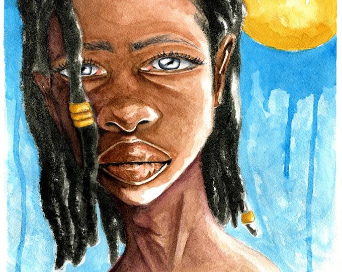 "African American Art| Black Woman With Locs | Watercolor Portrait | Fine Art Print | ""Blue"""