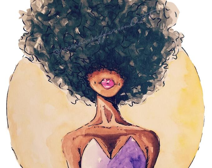 "Black Woman Art | African Woman Art | Afro Art | Watercolor Art | Fine Art Print | ""Sis"""