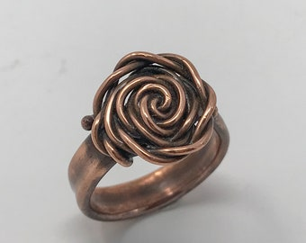 Copper rose ring