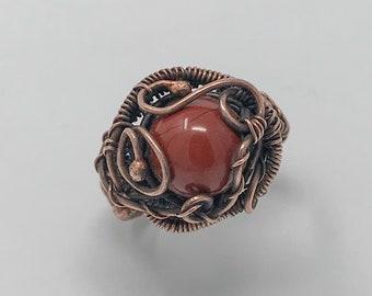 Red Jasper copper ring