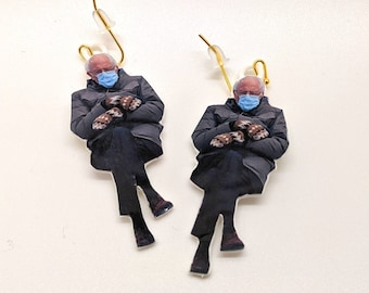 Bernie  Earrings, with 14k Gold Plated or Stainless Steel Hooks, 3D Printed