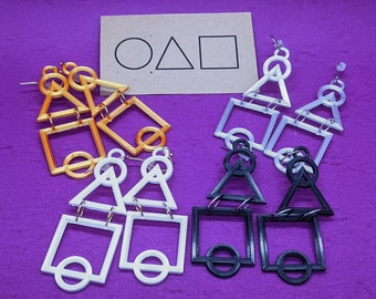 Squid Dangle Earrings, In Multiple Color Options, with 14k Gold Plated or Stainless Steel Hooks, 3D Printed