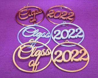 Class of 2022 Earrings, Gold, Silver, or Copper Metallic Tone Biodegradable Plastics, 3D Printed