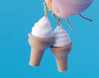 Ice Cream Cone Earrings with Gold Plated Hooks, 3D Printed with Biodegradable Plastics
