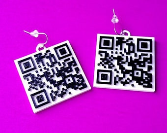 QR Code Earrings, Perfect For Web Promotion, with 14k Gold Plated or Stainless Steel Hooks, 3D Printed