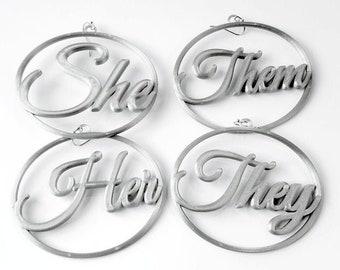 Pronouns Earrings, Silver Metallic Tone Biodegradable Plastic, 3D Printed