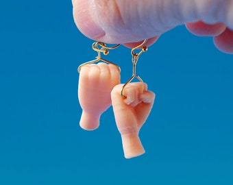Get A Grip Fist Earrings with Gold Plated Hooks, 3D Printed, Biodegradable Plastic