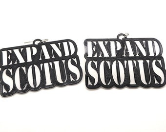Expand SCOTUS Statement Earrings, with 14k Gold Plated or Stainless Steel Hooks, 3D Printed